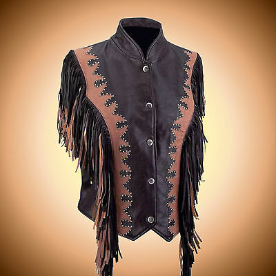Ladies SOLID LEATHER Brown Fringed Biker Vest--Size XL