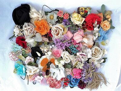 Large Lot of Vintage Millinery Flowers, Corsages, Velvet, Silk