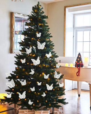 Christmas Tree Decorations 12pcs 3D Bling Butterfly Wall Stickers Decor UK