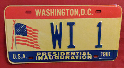 1981 District Of Columbia Wi-1 Wisconsin Inaugural License Plate