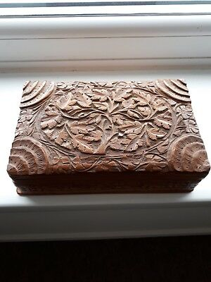 Ornate hinged wooden box, with secret access!