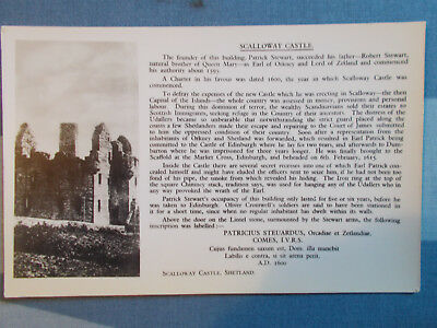 Scalloway Castle detailed history card sold by C.J.Williamson Shetland Isles.