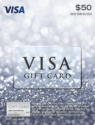 $100 Visa Card - Activated Ready to Use, Free Same Day Shipping