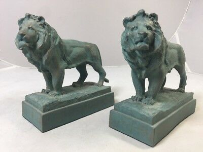 Edward Kemeys Chicago Art Institute Guardian Lion Bookends Statues