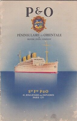 France England 1920S P&o British India Company Maritime Cruise Ship Booklet Map