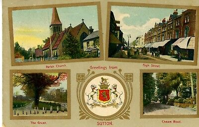 1907 Postcard - Sutton (and Cheam), UK  - Multiple Images