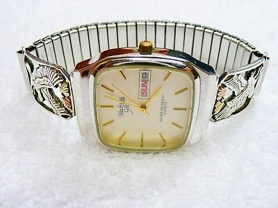 Black Hills Gold 12K Leaves and .925 Sterling Silver Eagles Mens Watch