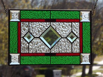 "•Christmas trough the Year •Beveled Stained Glass Window Panel • 15 ¼"" x 9 7/8"""