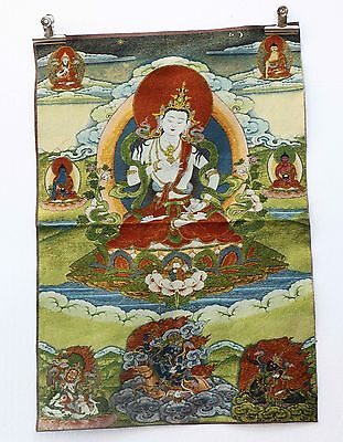 Tibet Collectable Silk Hand Painted Guanyin  Painting Thangka  a1