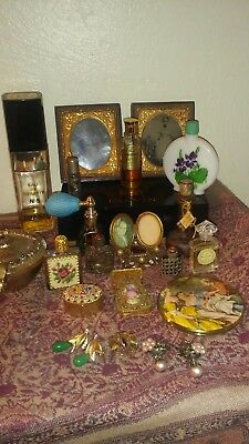 Lot of Assorted Vintage Vanity Items, Perfume Bottles & More