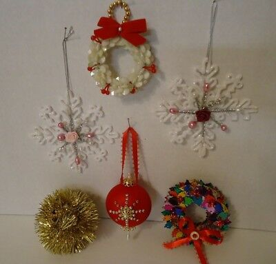 Vintage lot of 6 Hand Crafted Christmas Ornaments Bead-Sequin-Pearls-Foil
