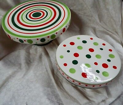 Home & Garden Party Stoneware Collection-Set Of 2- Cake Stand With Pedestal Base
