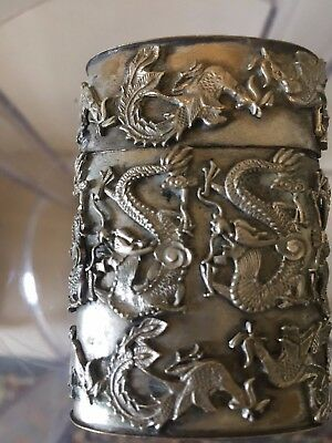 Antique Silver Asian Chinese Oriental Dragon Box