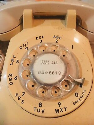 Vintage rotary dial Hollywood 60s telephone, tan color working collectible phone