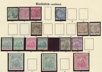 BARBADOS STAMPS 1880s-1930s 3 IMPERIAL ALBUM PAGES OF MAINLY VF MINT, 12 SCANS