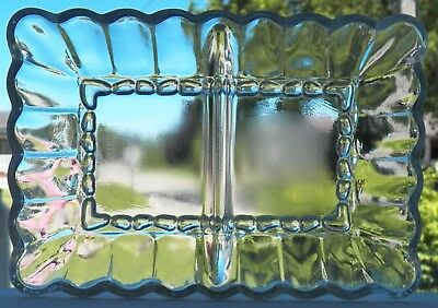Vintage Pressed Glass 2 Section Rectangular Glass Relish Dish Scalloped Pattern