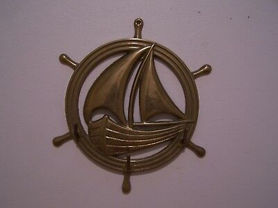 Vintage Nautical Maritime Decor Brass Ship Wheel Sail Boat Wall Mount Hanger