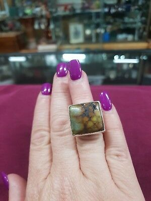 Large Natural Stone & Sterling Silver Ring