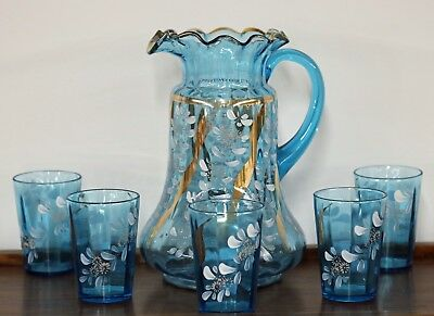 Antique Victorian Ruffled Blue Hand Painted Pitcher 5 Glass Lemonade/ Water Set