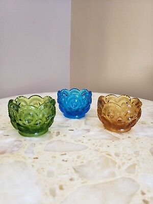 Set of 3 Pressed Glass Salt Cellars Dips Scalloped Moon and stars