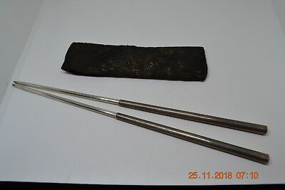 Vintage Solid Sterling Silver Telescoping Chopsticks With Bag Case