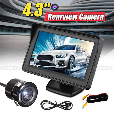 """4.3"""" Car Auto Rear View Monitor Wired Reverse Parking Night Vision Camera Kit"""