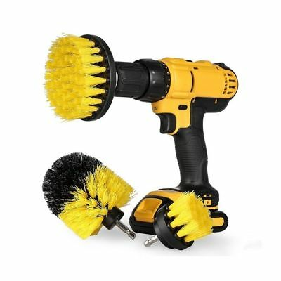 3X/Set Yellow Cleaning Drill Brush Tile Grout Power Scrubber Tub Cleaner Combo