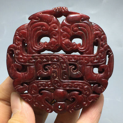58g  Chinese Exquisite Hand carved flowers carving  Ancient jade pendant  a14