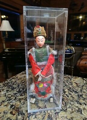 """Antique Chinese Opera Theatre Imperial Doll Embroidered About 11"""" Tall Cased"""