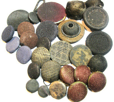 "Antique & Vintage Lot Of Mixed Fabric Buttons Dark Colors 6/16""-1 1/8"""