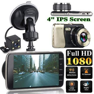 4'' Dual Lens 1080P Hd Camera Car Dvr Vehicle Video Dash Cam Recorder G-Sensor