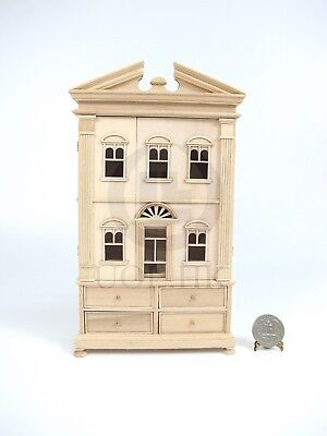 """Miniature Wooden The """"Barbara"""" Baby House [Unfinished/Unpainted]"""