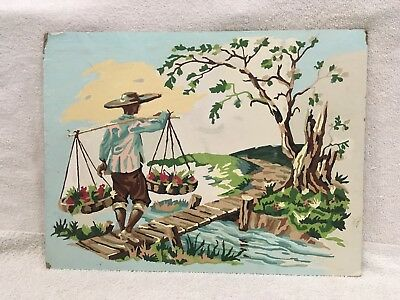 Vintage Unframed Paint by Number, Man Hauling