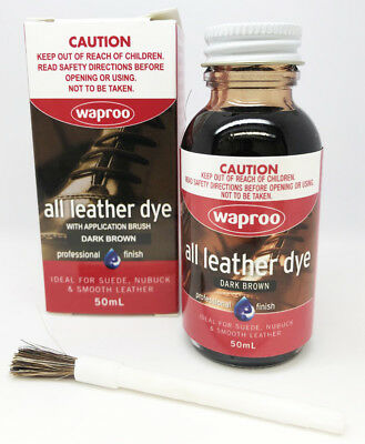 Waproo DARK BROWN Leather Dye For Leather  Shoe Bag Boot - FREE POST