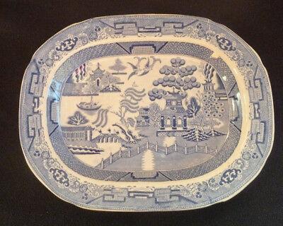 Antique Staffordshire Stone China Meat Plate / Platter Willow Pattern Blue White
