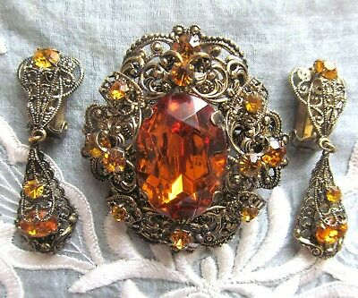 Vintage Filigree Pendant- Brooch And Clips Decorated With Yellow Rhinestones. Si