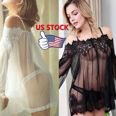 Sexy Women Lingerie Babydoll Sleepwear Underwear Lace Dress+Gstring Nightwear AU