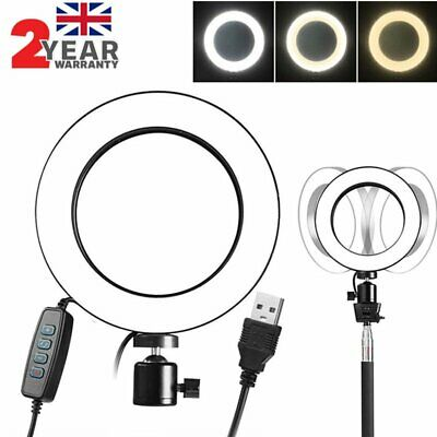 "8"" LED SMD Ring Light 5500K Dimmable Lighting Kit for Makeup Phone Camera Selfie"