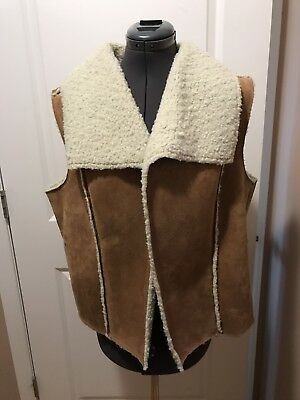 Vegan Suede and Shearling Style Vest Open Front 2X-3X, 18/20