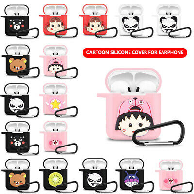 Cute Cartoon Earphone Cover For Apple Airpods Charging Case Holder Bag Key Ring