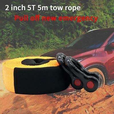 16ftx2in 5Tons Heavy Duty Car Road Recovery Tow Strap Towing Rope w/Storage Bag