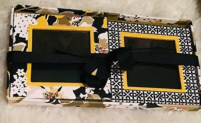 "Vera Bradley 2 Hanging Picture Frames Black Floral Plastic 2"" X 5"" New In Box"