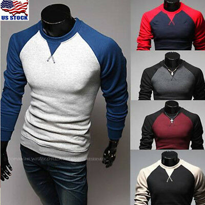 Men's Pullover Slim Fit O Neck Long Sleeve Muscle Tee T-shirt Casual Tops Blouse