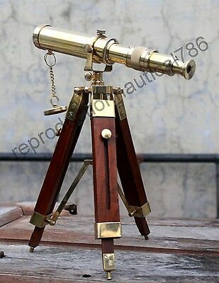 Shiny Brass Spyglass Telescope With Wooden Tripod Pirate Spyglass Scope