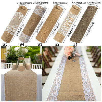 Natural Burlap Hessian Lace Table Runner Rustic Wedding Banquet Party Decoration