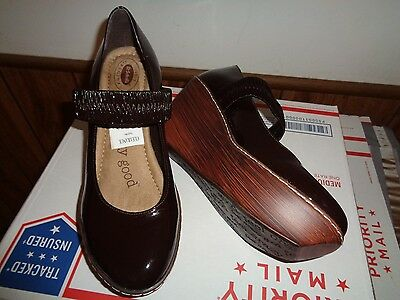 """DR. SCHOLL'S """"Feel Crazy Good"""" Brown Wedge Mary Jane Shoes, Size 8M"""