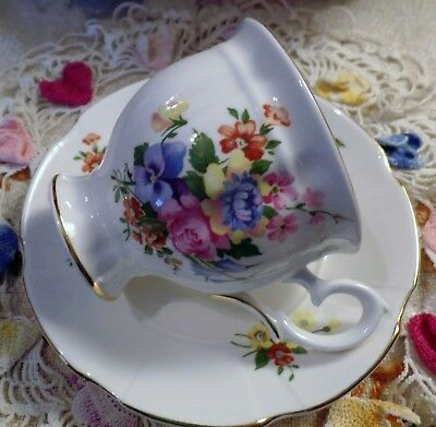CROWN STAFFORDSHIRE BONE CHINA FOOTED TEA CUP and SAUCER ENGLAND