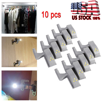 10*LED Smart Sensor Light Kitchen Cabinet Cupboard Closet Wardrobe Hinge Lights