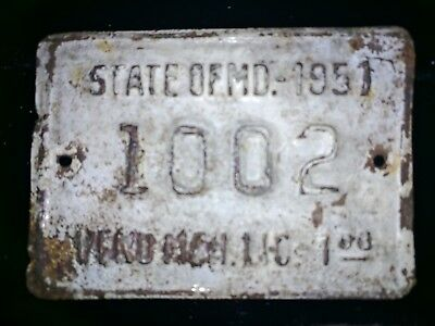 "Maryland Metal License Plate 1002 Misc.  2 7/8"" x 2"""