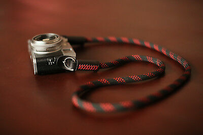 Windmup black red dot  Climbing rope 10mm dyeing leather handmade Camera strap